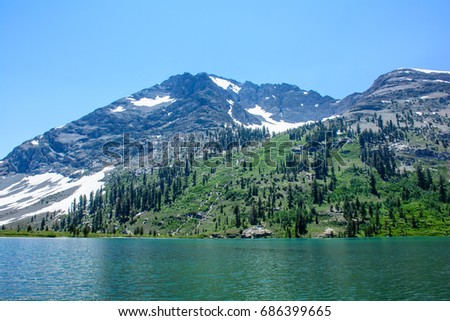 Glacier Mountain with Lake in the Summer with green and flower