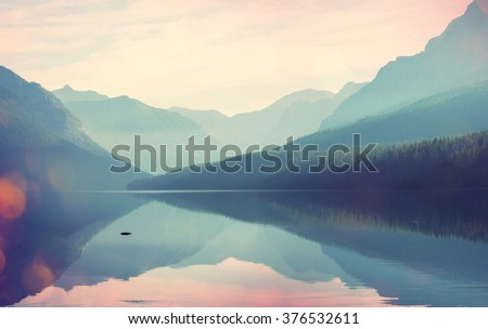 Glacier National Park, Montana, USA. Instagram filter. - stock photo