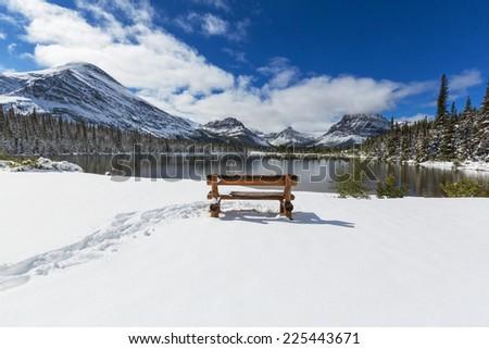 Glacier National Park, Montana.Winter. - stock photo