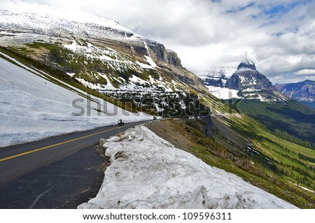 Glacier National Park Road-To-The-Sun. Montana Rocky Mountains. Montana Photo Collection. - stock photo
