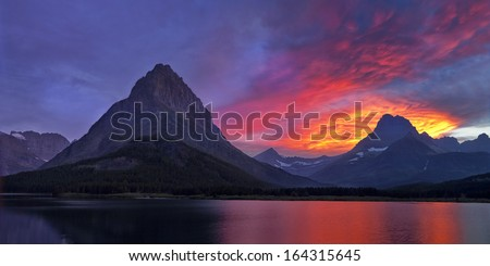 Glacier National Park Sunset Panorama - stock photo