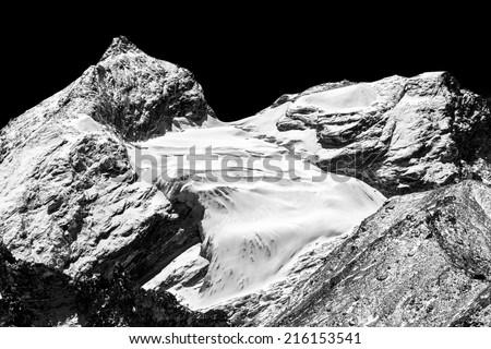 Glacier near legendary place Everest Base Camp - Nepal, Himalayas (black and white) - stock photo