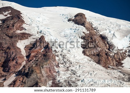 Glacier on Mount Rainier at Mount Rainier National Park, Washington - stock photo