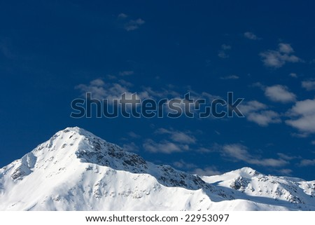 Glacier, winter mountains.