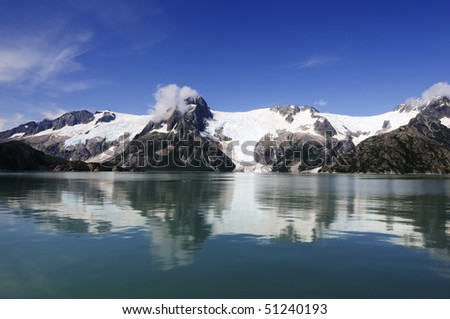Glaciers in Alaska photographed from a cruise ship - stock photo