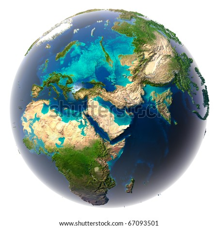 Glaciers melted, the amount of water in the oceans has increased and they have flooded the continents. Fantastic prediction of possible future. Earth on a white background - stock photo