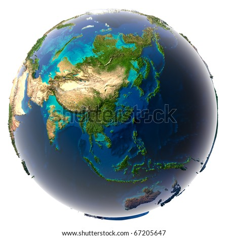 Glaciers melted, the amount of water in the oceans has increased and they have flooded the continents. Fantastic prediction of possible future. Earth on a white background