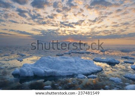 Glaciers of Greenland. Icebergs of different forms in the gulf. Studying of a phenomenon of global warming and catastrophic thawing of ices.  - stock photo