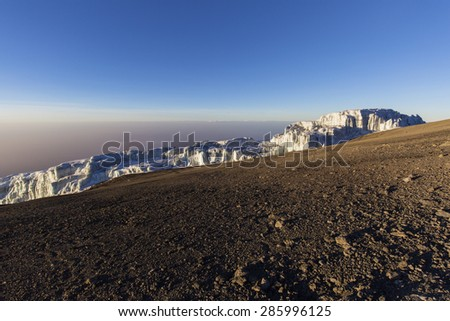 Glaciers on route to summit of Mount Kilimanjaro in Tanzania, Africa. - stock photo