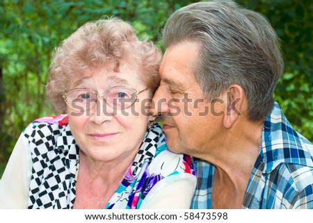 glad pensioners outdoor - stock photo