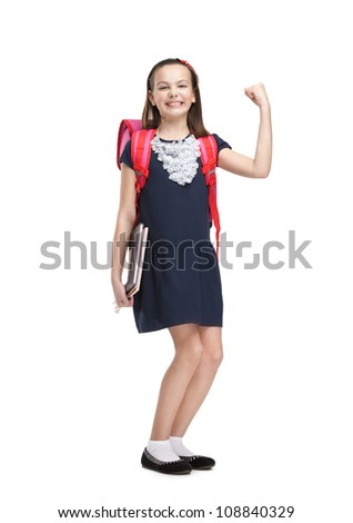 Glad schoolgirl with the briefcase and books, isolated, white background - stock photo