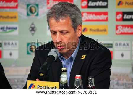 GLADBACH, GERMANY - MARCH 21: Gladbach Coach Lucien Facre speaks at a press conference after DFB Cup match between Borussia Gladbach & FC Bayern Munich, final score 2 - 4, on March 21, 2012, in Gladbach, Germany.