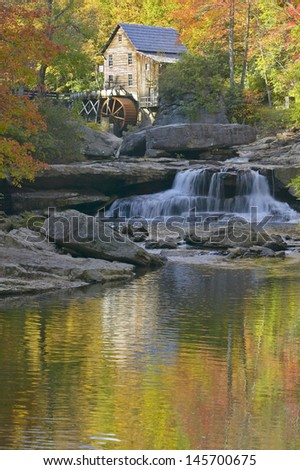Glade Creek Grist Mil in autumn in Babcock State Park, WV - stock photo