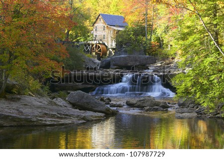 Glade Creek Grist Mill, water fall in Babcock State Park, West Virginia