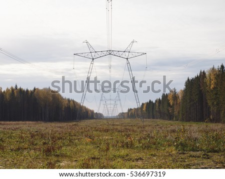 Glade  in the autumn forest with the supports of power lines.