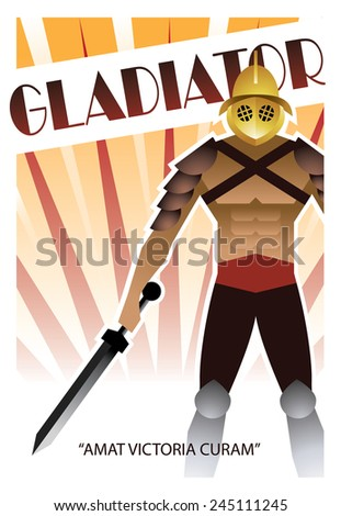 Gladiator Art-deco poster - stock photo