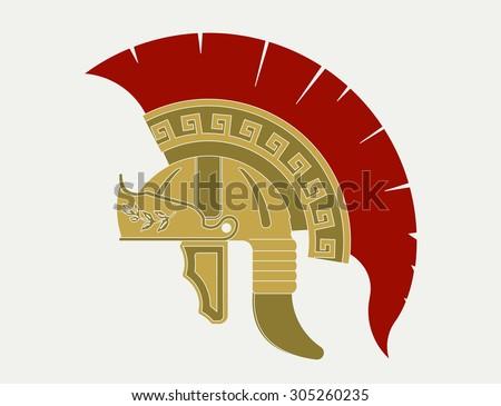 Gladiator helmet  logo, Ancient Roman legionnaire emblem.  Greek Warrior, spartan heroic soldier - stock photo