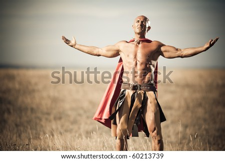 Gladiator, image of a well-built man - stock photo