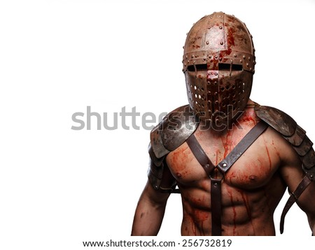 Gladiator in helmet with muscular body covered in blood. Isolated on white. - stock photo