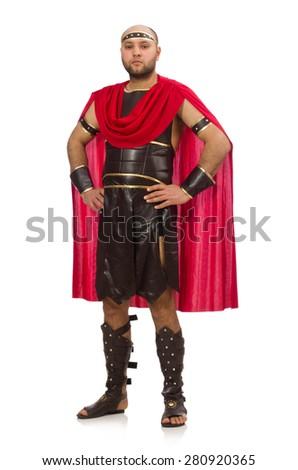 Gladiator isolated on white - stock photo