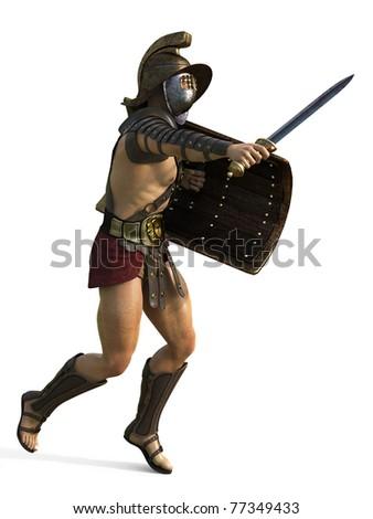 gladiator left side attack - stock photo