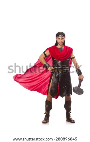 Gladiator with hammer isolated on white - stock photo