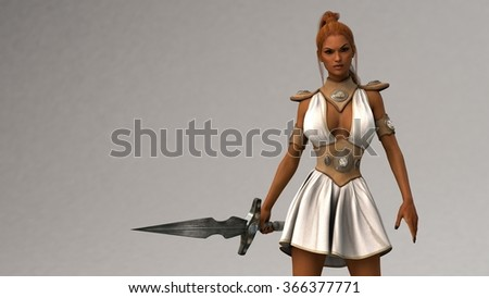 gladiator woman with sword - stock photo