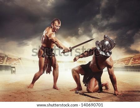 Gladiator won - stock photo