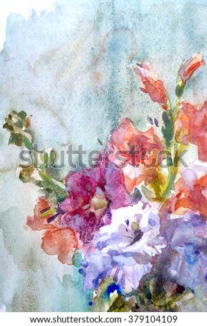 Gladiolus flowers watercolor painting