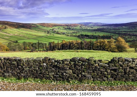 Glaisdale, Yorkshire, UK. The North York Moors in autumn showing the vale at Glaisdale and fields, farmland, and farmhouses. It is a bright sunny morning. - stock photo