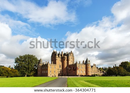 Glamis castle, known as one of the most haunted castles in Scotland. - stock photo