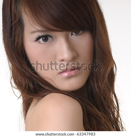 Glamor, closeup portrait of Asian beautiful woman face and charming expression. - stock photo