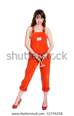 glamor contractor girl with hummer and  screwdriver - stock photo