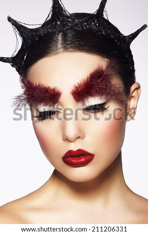 Glamor. Eccentric Woman with Surreal Theatrical Hairdress - stock photo