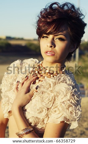 Glamor portrait of young beautiful model - stock photo