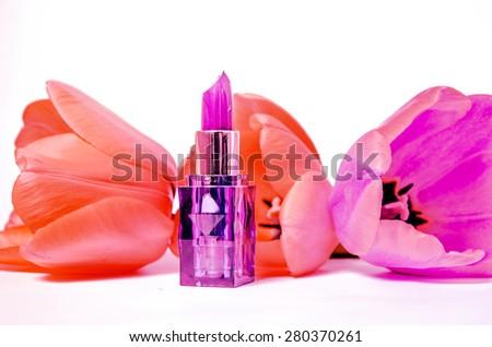 glamor shiny lipstick isolated on white background - stock photo