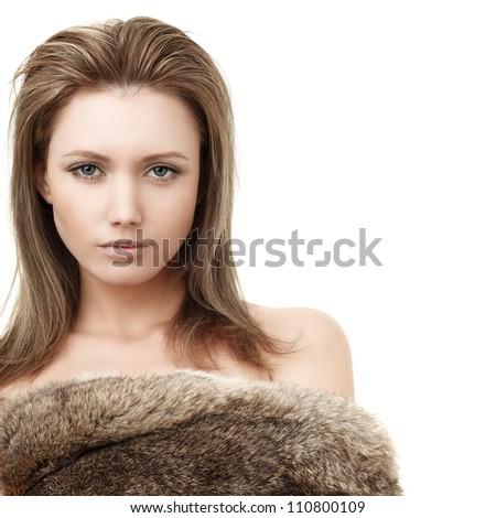 Glamorous blond woman - fashion girl in fur - stock photo