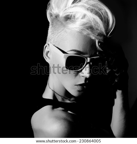 Glamorous Blonde punk fashion style black and white photo - stock photo