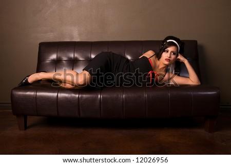 Glamorous brunette. - stock photo