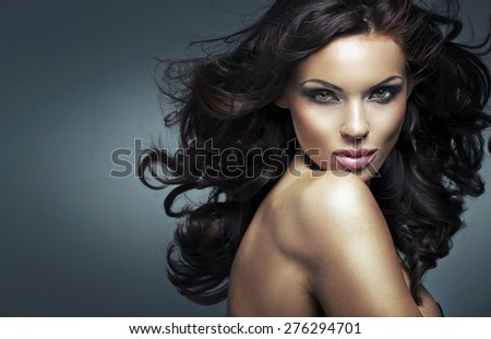 Glamorous brunette beauty - stock photo