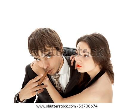 glamorous couple isolated on white - stock photo