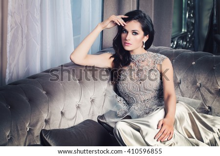 Glamorous Fashion Model Woman in Celebrity Interior