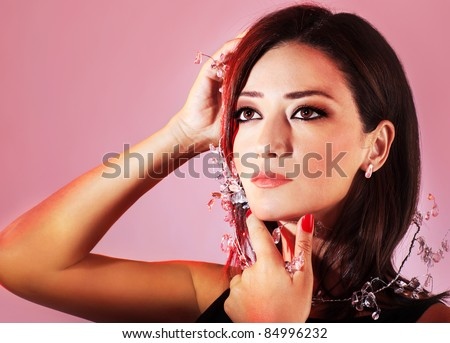 Glamorous female portrait, woman decorated with jewellery accessories, beautiful young model face - stock photo