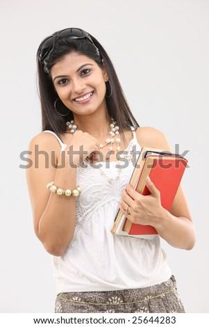 glamorous girl with books - stock photo