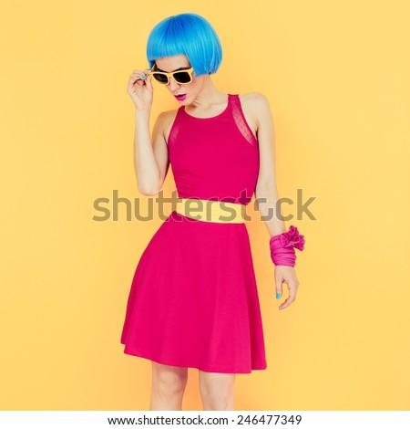 Glamorous Lady bright style.Bright Summer - stock photo