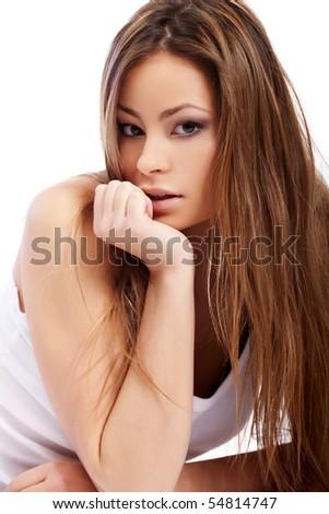 Glamorous lying sexy woman on white background - stock photo