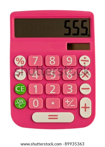 glamorous pink calculator with figure on the display 555 - stock photo