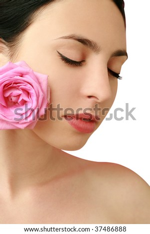 glamorous portrait of a girl with a rose - stock photo