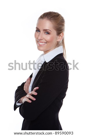 Glamorous Positive Smiling Businesswoman standing sideways against white smiling in to camera. - stock photo