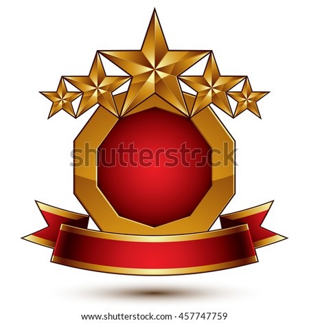 glamorous round element with red filling, 3d polished five golden stars branded symbol with festive ribbon. Dimensional decorative stars, elegant shaped blazon. Eps8.